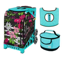 Zuca Sport Bag - Petals & Stripes with Gift  Turquoise/Brown Seat Cover and Turquoise Lunchbox (Turquoise Frame)