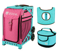 Zuca Sport Bag - Pink Hot with Gift  Turquoise/Brown Seat Cover and Turquoise Lunchbox (Turquoise Frame)