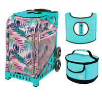 Zuca Sport Bag - Pink Oasis with Gift  Turquoise/Brown Seat Cover and Turquoise Lunchbox (Turquoise Frame)