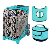 Zuca Sport Bag - Playful Puffins with Gift  Turquoise/Brown Seat Cover and Turquoise Lunchbox (Turquoise Frame)
