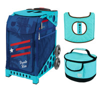 Zuca Sport Bag - Puerto Rico with Gift  Turquoise/Brown Seat Cover and Turquoise Lunchbox (Turquoise Frame)