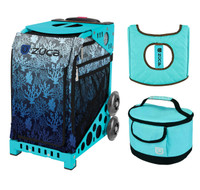 Zuca Sport Bag - Reef with Gift  Turquoise/Brown Seat Cover and Turquoise Lunchbox (Turquoise Frame)