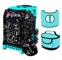 Zuca Sport Bag - Sk8 Black with Gift  Turquoise/Brown Seat Cover and Turquoise Lunchbox (Turquoise Frame)