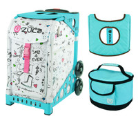 Zuca Sport Bag - Sk8 with Gift  Turquoise/Brown Seat Cover and Turquoise Lunchbox (Turquoise Frame)