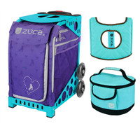 Zuca Sport Bag - Skates & Bows with Gift  Turquoise/Brown Seat Cover and Turquoise Lunchbox (Turquoise Frame)