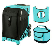 Zuca Sport Bag - Stealth with Gift  Turquoise/Brown Seat Cover and Turquoise Lunchbox (Turquoise Frame)
