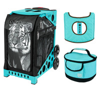 Zuca Sport Bag - Tiger with Gift  Turquoise/Brown Seat Cover and Turquoise Lunchbox (Turquoise Frame)