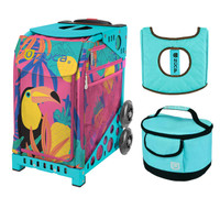Zuca Sport Bag - Toucan Dream with Gift  Turquoise/Brown Seat Cover and Turquoise Lunchbox (Turquoise Frame)