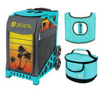 Zuca Sport Bag - Tropical Sunset with Gift  Turquoise/Brown Seat Cover and Turquoise Lunchbox (Turquoise Frame)