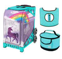 Zuca Sport Bag - Unicorn 2 with Gift  Turquoise/Brown Seat Cover and Turquoise Lunchbox (Turquoise Frame)