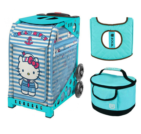 Zuca Sport Bag - Hello Kitty Sail with Me with Gift  Turquoise/Brown Seat Cover and Turquoise Lunchbox (Turquoise Frame)