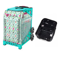 Zuca Sport Bag - Chevron with Gift  One Large and Two Mini Utility Pouches (Turquoise Frame)