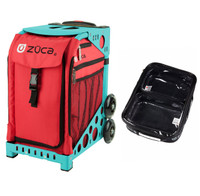 Zuca Sport Bag - Chili with Gift  One Large and Two Mini Utility Pouches (Turquoise Frame)