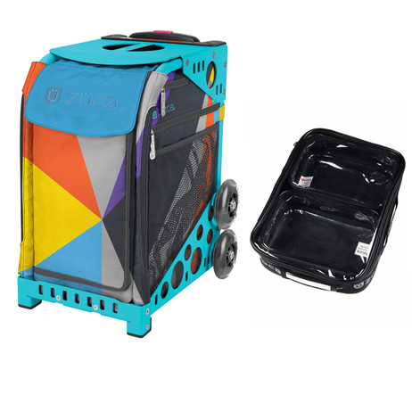 Zuca Sport Bag - Colorblock Party with Gift  One Large and Two Mini Utility Pouches (Turquoise Frame)
