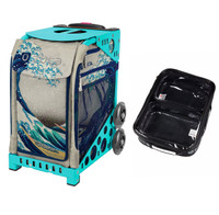 Zuca Sport Bag - Great Wave with Gift  One Large and Two Mini Utility Pouches (Turquoise Frame)