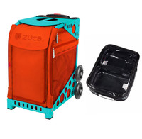 Zuca Sport Bag - Persimmon with Gift  One Large and Two Mini Utility Pouches (Turquoise Frame)