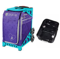 Zuca Sport Bag - Skates & Bows with Gift  One Large and Two Mini Utility Pouches (Turquoise Frame)