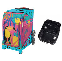Zuca Sport Bag - Toucan Dream with Gift  One Large and Two Mini Utility Pouches (Turquoise Frame)