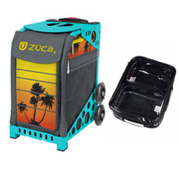 Zuca Sport Bag - Tropical Sunset with Gift  One Large and Two Mini Utility Pouches (Turquoise Frame)