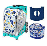 Zuca Sport Bag - Boho Floral with Gift  Seat Cover and  Lunchbox (Turquoise Frame)