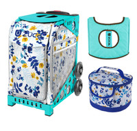 Zuca Sport Bag - Boho Floral with Free  Seat Cover and  Lunchbox (Turquoise Frame)