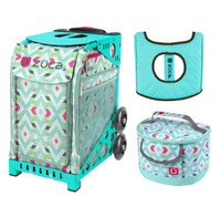 Zuca Sport Bag - Chevron with Gift  Seat Cover and  Lunchbox (Turquoise Frame)