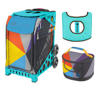Zuca Sport Bag - Colorblock Party with Gift  Seat Cover and  Lunchbox (Turquoise Frame)