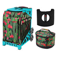 Zuca Sport Bag - Desert Blossoms with Gift  Seat Cover and  Lunchbox (Turquoise Frame)