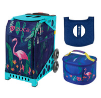 Zuca Sport Bag - Flamingo with Gift  Seat Cover and  Lunchbox (Turquoise Frame)