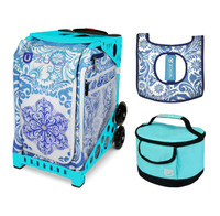 Zuca Sport Bag - Ice Garden with Gift  Seat Cover and  Lunchbox (Turquoise Frame)