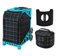 Zuca Sport Bag - Imperial Plaid with Gift  Seat Cover and  Lunchbox (Turquoise Frame)