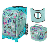 Zuca Sport Bag - Llama Rama with Gift  Seat Cover and  Lunchbox (Turquoise Frame)
