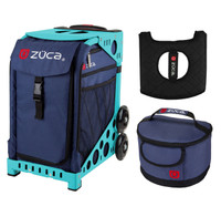 Zuca Sport Bag - Midnight with Gift  Seat Cover and  Lunchbox (Turquoise Frame)