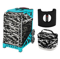 Zuca Sport Bag - Nu Camo with Gift  Seat Cover and  Lunchbox (Turquoise Frame)