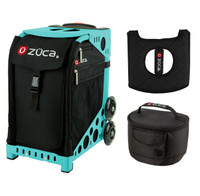 Zuca Sport Bag - Obsidian with Gift  Seat Cover and  Lunchbox (Turquoise Frame)