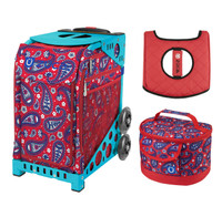 Zuca Sport Bag - Paisley In Red with Gift  Seat Cover and  Lunchbox (Turquoise Frame)