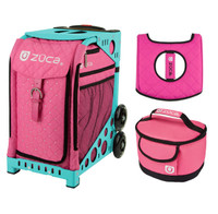 Zuca Sport Bag - Peace Now with Gift  Seat Cover and  Lunchbox (Turquoise Frame)
