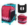 Zuca Sport Bag - Pink Diamonds with Gift  Seat Cover and  Lunchbox (Turquoise Frame)