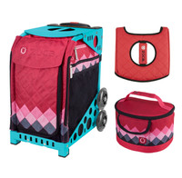 Zuca Sport Bag - Pink Diamonds with Free  Seat Cover and  Lunchbox (Turquoise Frame)