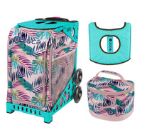 Zuca Sport Bag - Pink Oasis with Gift  Seat Cover and  Lunchbox (Turquoise Frame)