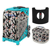 Zuca Sport Bag - Playful Puffins with Gift  Seat Cover and  Lunchbox (Turquoise Frame)