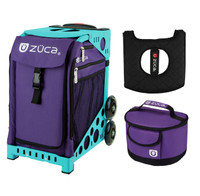 Zuca Sport Bag - Rebel with Gift  Seat Cover and  Lunchbox (Turquoise Frame)