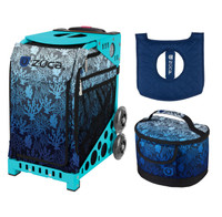 Zuca Sport Bag - Reef with Gift  Seat Cover and  Lunchbox (Turquoise Frame)