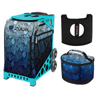 Zuca Sport Bag - Reef with Free  Seat Cover and  Lunchbox (Turquoise Frame)