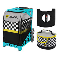 Zuca Sport Bag - Sk8ter Block with Gift  Seat Cover and  Lunchbox (Turquoise Frame)