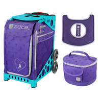 Zuca Sport Bag - Skates & Bows with Gift  Seat Cover and  Lunchbox (Turquoise Frame)