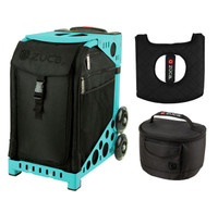 Zuca Sport Bag - Stealth with Gift  Seat Cover and  Lunchbox (Turquoise Frame)
