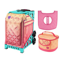 Zuca Sport Bag - Sunset with Gift  Seat Cover and  Lunchbox (Turquoise Frame)