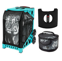 Zuca Sport Bag - Tiger with Gift  Seat Cover and  Lunchbox (Turquoise Frame)