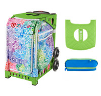 Zuca Explosion Bag with Seat Cover and Zuca Pencil Case (Green Frame)